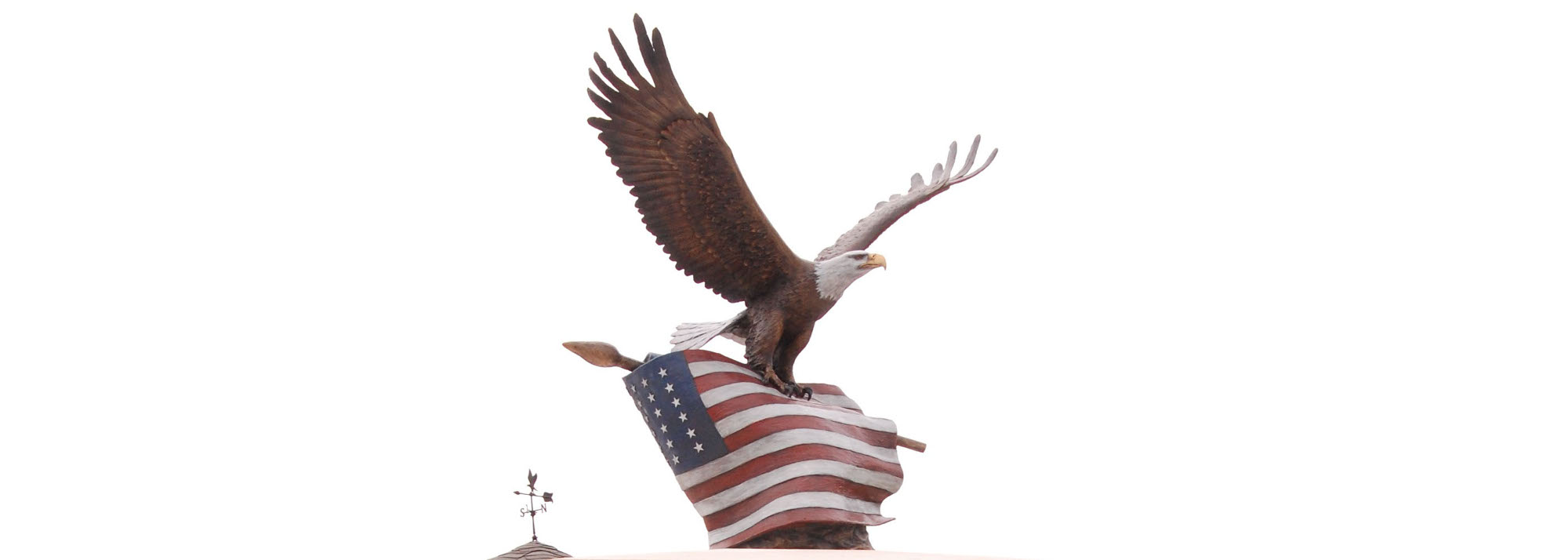 bronze military sculpture, bald eagle with WWII American flag by Sutton Betti