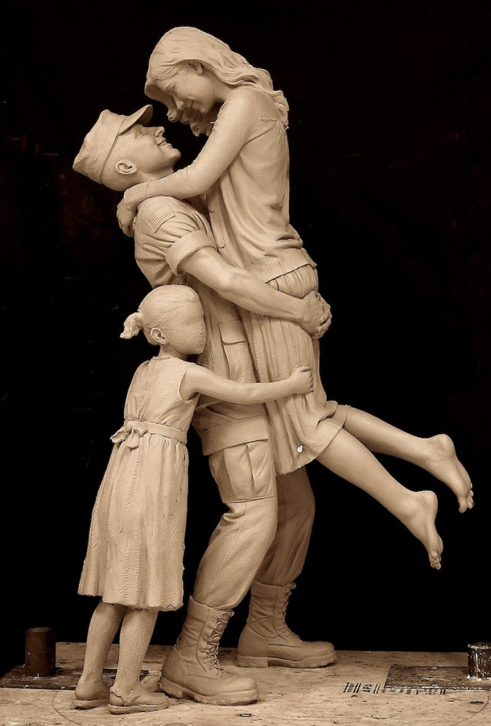 returning home, military family, military sculpture, coast guard sculpture, after the war statue, Sutton Betti