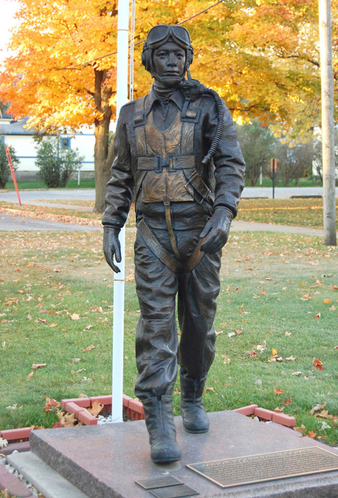 Tuskegee Airman, Joe Gomer, bronze military sculpture, military sculpture, Sutton Betti