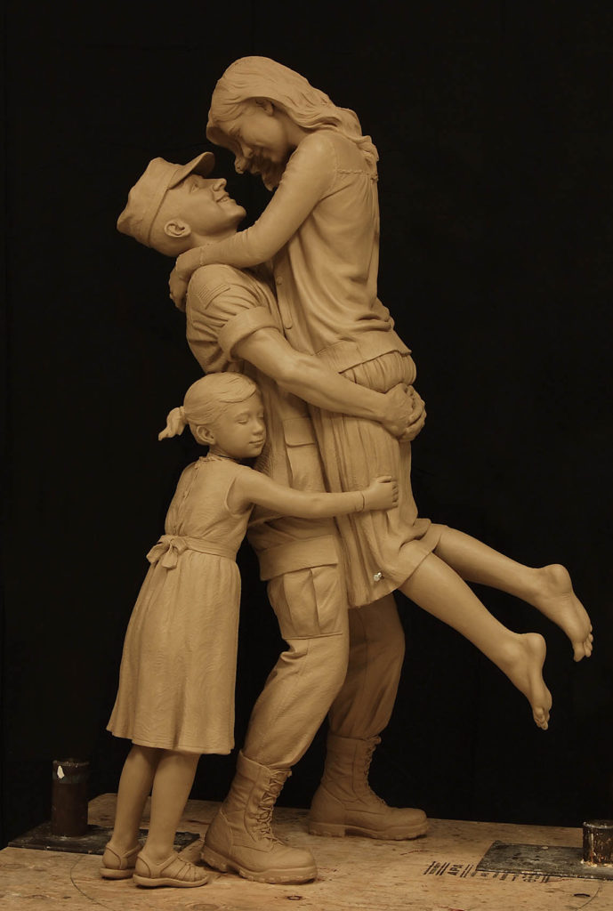 returning home, military sculpture, coast guard sculpture, military family sculpture, after the war statue, Sutton Betti