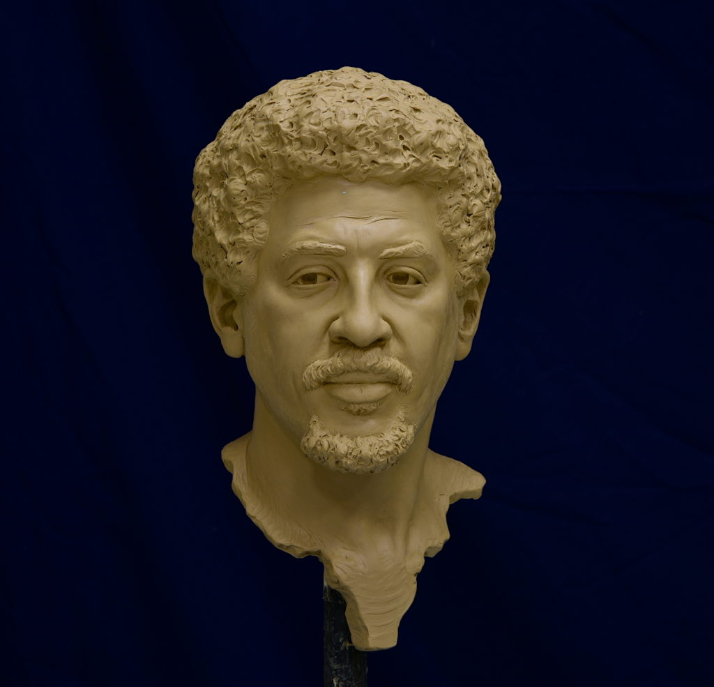 clay portrait bust, life size bust, portrait of a man, African man bust, realistic portrait, Sutton Betti
