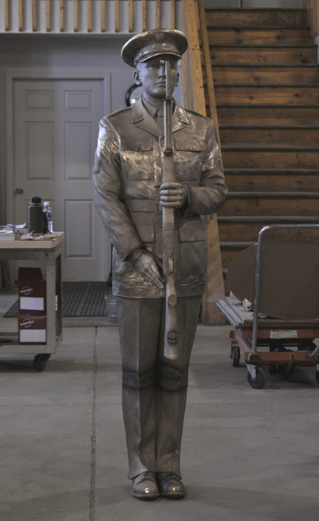 Honor Guard sculpture, bronze military sculpture, present arms US army, by Sutton Betti