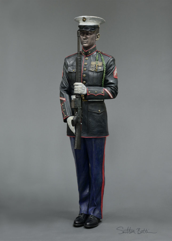 honor guard sculpture, bronze military sculpture, present arms marine life size bronze sculpture by Sutton Betti