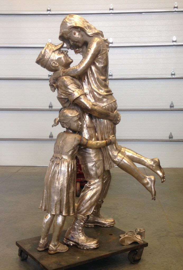 Returning Home, after the war, war hero, home safe, military family bronze sculpture, Sutton Betti