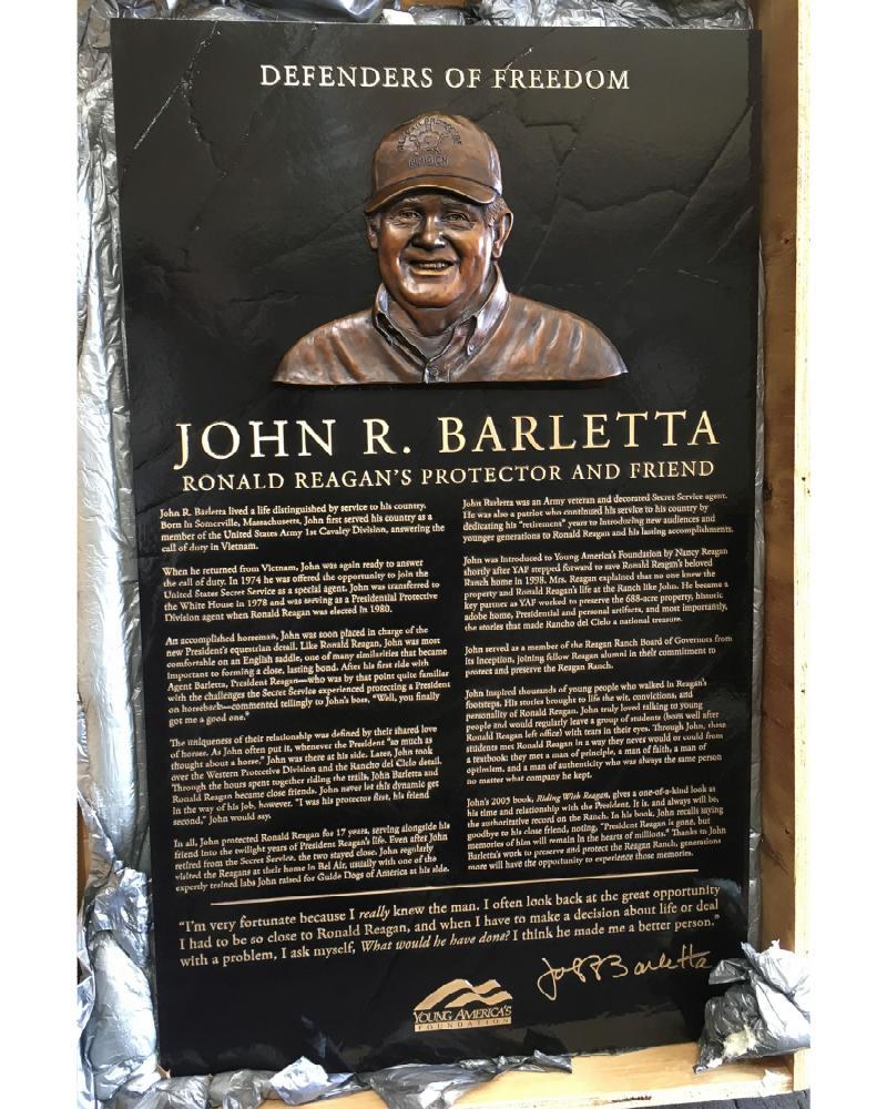 John Barletta bronze plaque, Ronald Reagan Ranch, Young America's Foundation, bas relief sculpture, bronze portrait sculpture, Protector and Friend memorial, Sutton Betti