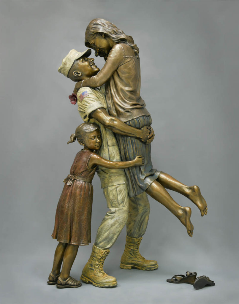 returning home, bronze military sculpture, coast guard sculpture, military family sculpture, after the war statue, Sutton Betti, life size bronze sculpture, multi color patina, American Veterans Park statue