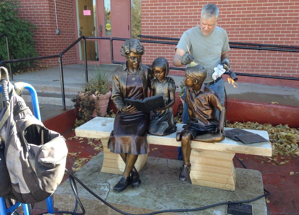 Sutton Betti, Sculpture Services of Colorado, Sowing Seeds, Mountain View Presbyterian Church, Loveland Colorado sculptor, hot wax