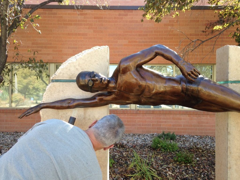 Sutton Betti, Sculpture Services of Colorado, Master Swimmer, Edora Pool and Ice Facility, EPIC, Fort Collins Colorado sculptor