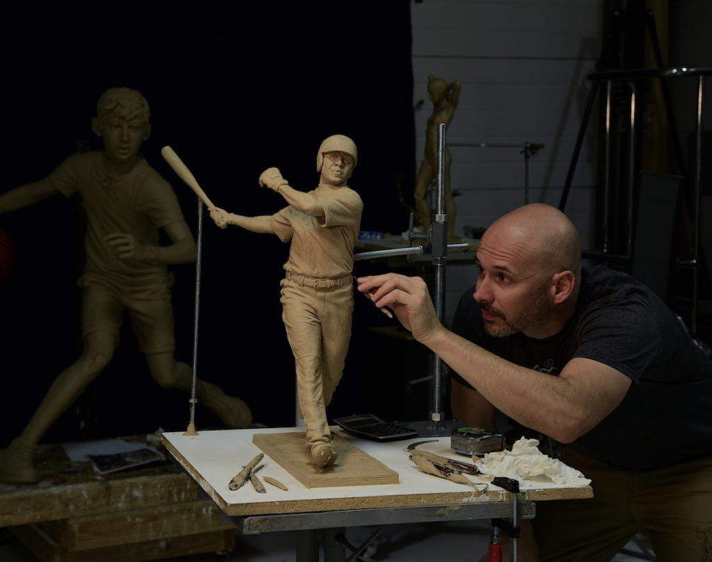 Sutton Betti, Barry Bonds sculpture, work in progress clay maquette, studio photo