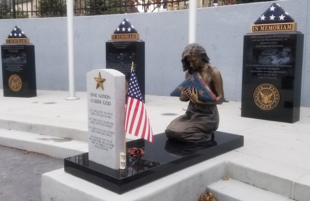 Gold Star Wife, Sutton Betti, American Veterans Park, military sculpture, Veterans memorial, veteran sculpture, bronze statue, grieving woman with folded flag, gold star wife, poppies