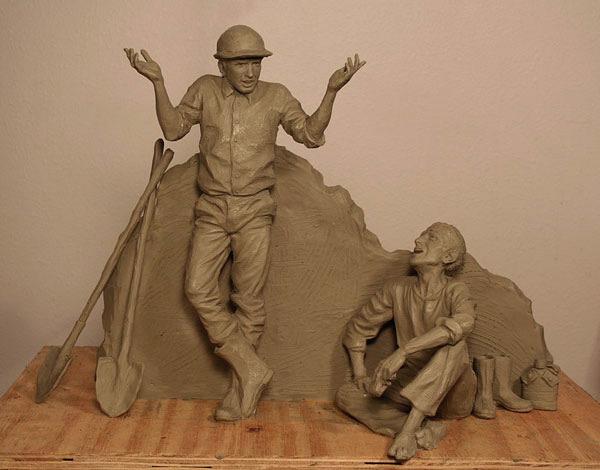 Sutton Betti, Puddler's Break, Boulder City, NV, bronze sculpture, clay sculpture