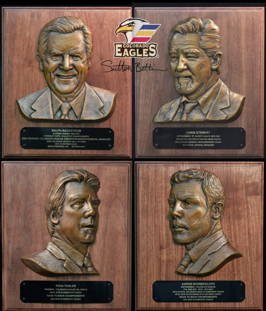 Colorado Eagles portrait plaques, Sutton Betti, Chris Stewart, Ralph Backstrom, Ryan Tobler, Aaron Schneekloth, ice hockey sculpture, athletes in bronze, sports statue, bas relief, bronze bas relief, ice hockey art