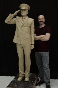 Saluting Air Force sculpture, Sutton Betti, work in progress, clay for bronze statue, Air Force Officer saluting the flag, American Veterans Park, West Point Nebraska, military sculpture