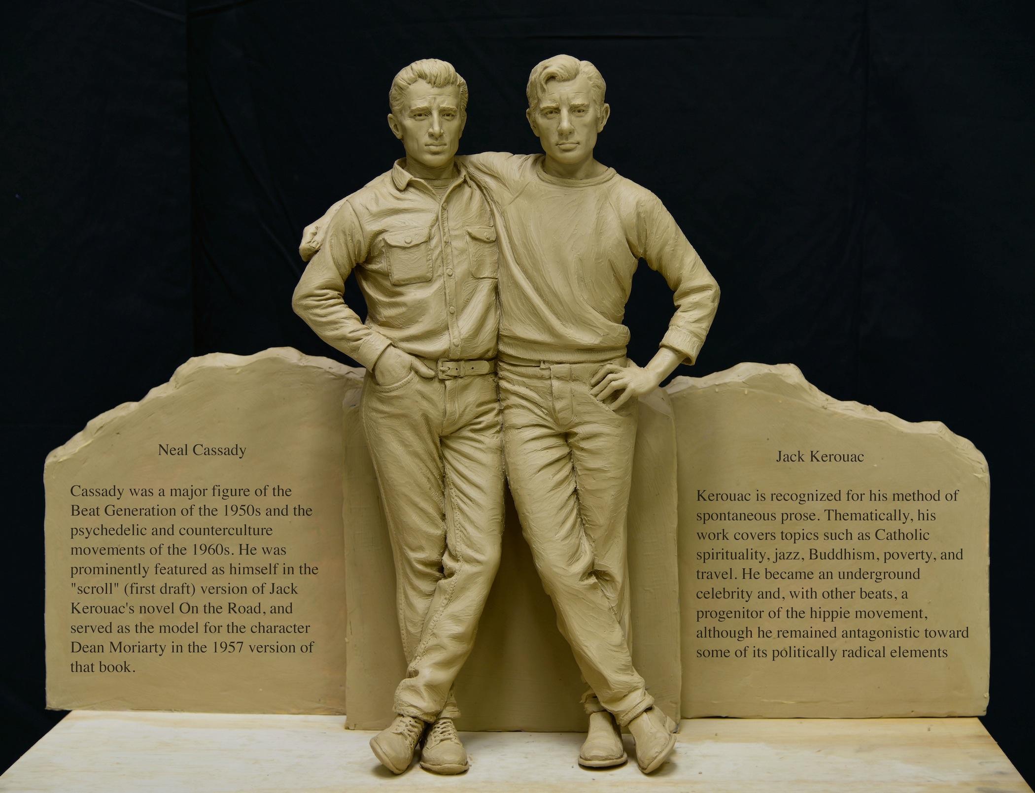 Denver sculpture, Neal Cassady Jack Kerouac sculpture, Sutton Betti Sculptures, work in progress, clay sculpture, beat writers