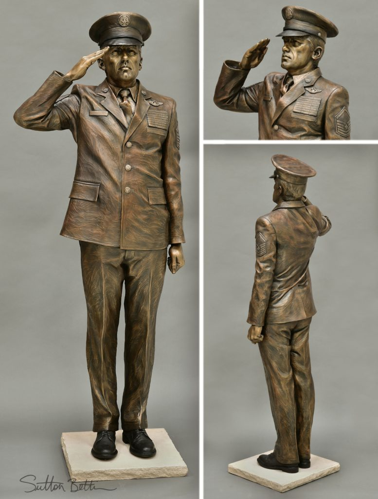 saluting air force bronze sculpture, military sculpture, Sutton Betti sculptor, Loveland sculpture, Air Force Sergeant