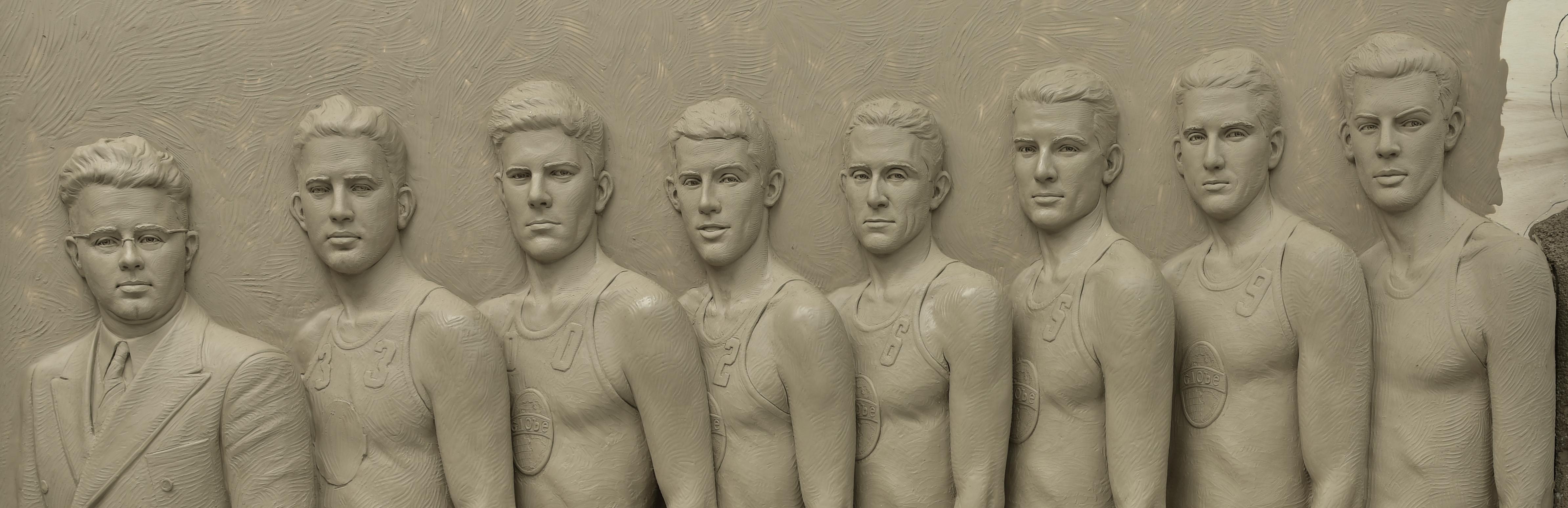 Kansas basketball monument, Kansas basketball sculpture, McPherson Globe Refiners, Gold medal basketball, 1936 Olympics, Sutton Betti Sculptures,