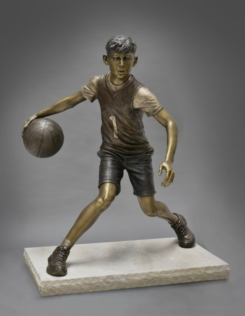 Sutton Betti, basketball sculpture, outdoor sculpture, sports, athletic art, athletic statue, Fast Break, Loveland sculptor
