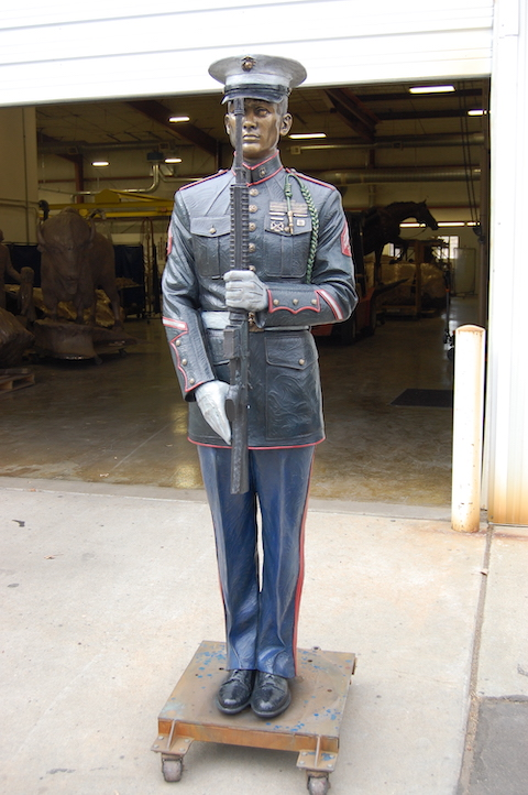 Art Castings of Colorado, bronze sculpture, bronze foundry, Sutton Betti, Loveland, Colorado, Loveland sculptor, Honor Guard, US Marine sculpture, patina