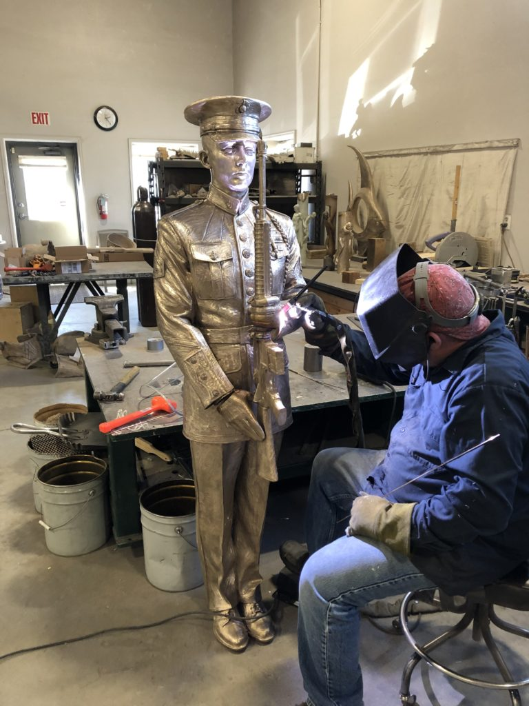 bronze honor guard, bronze sculpture, Sutton Betti, bronze sculptor, Loveland artist, Colorado sculptures