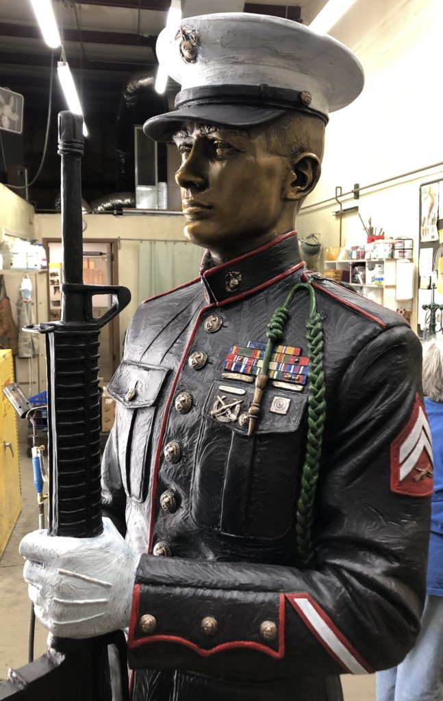 Sutton Betti, military memorial sculpture, Honor Guard detail, honor guard sculpture, military bronze sculpture, Loveland sculpture, Loveland statue, Loveland sculptor, Marine sculpture, bronze marine
