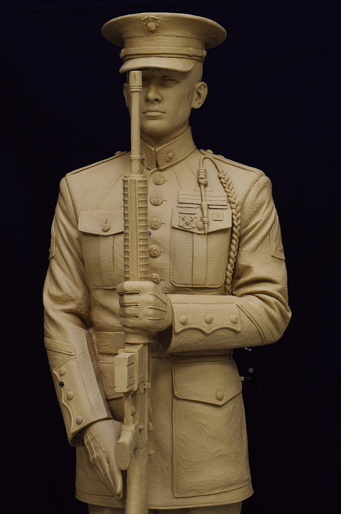 honor guard sculpture, military bronze sculpture, military bronze statue, honor guard present arms, Sutton Betti