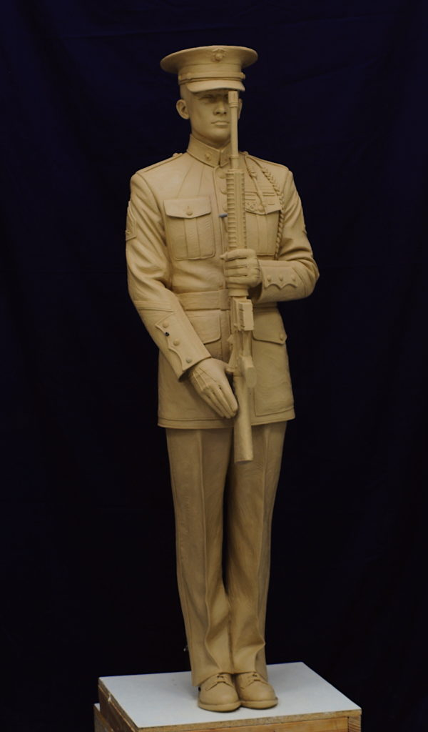 military statue, veterans park sculpture, marine sculpture, Loveland sculpture, clay sculpture, detailed statue, Honor Guard monument