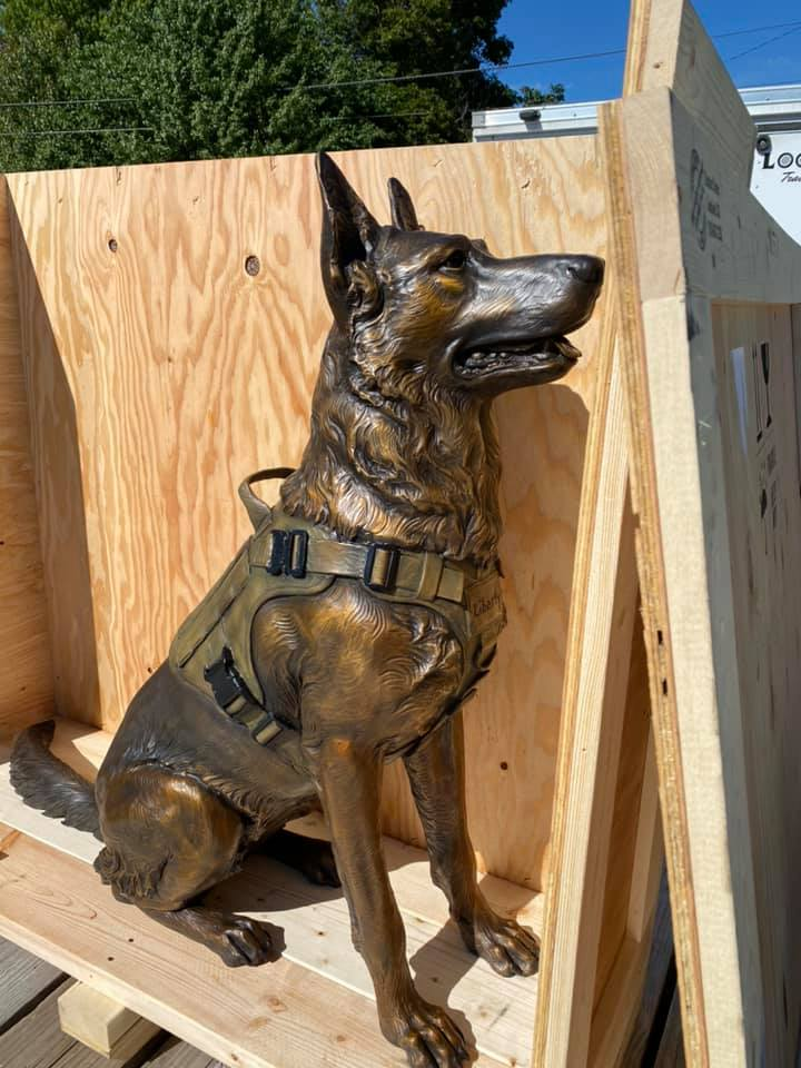 K9 war monument, war dog sculpture, military dog statue, military art, military statue, bronze military dog memorial statue, liberty bronze sculpture, dog memorial, veterans memorial, Bloomville Veterans memorial park, Ohio veterans memorial, German Sheppard sculpture, bronze statue