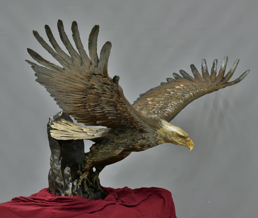 Bald eagle bronze sculpture, Loveland sculpture, Colorado sculpture, Sutton Betti, Freedom Wings